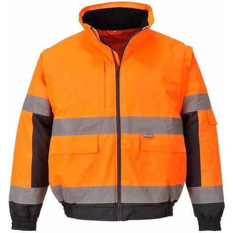 Portwest - Hi-Vis Safety Workwear 2-in-1 Jacket, Orange, XS,