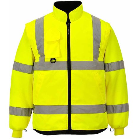 Portwest - Hi-Vis Safety Workwear 7-in-1 Traffic Workwear Jacket, Yellow, XXXXXX-Large,