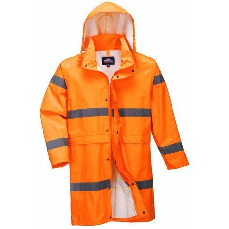 Portwest - Hi-Vis Safety Workwear Long Waterproof Rain Coat 100cm With Hood