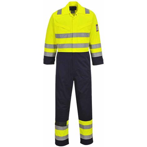Portwest - Hi-Vis Safety Workwear MODAFLAME Coverall Boilersuit, Yellow/Navy, 3XL / Long,
