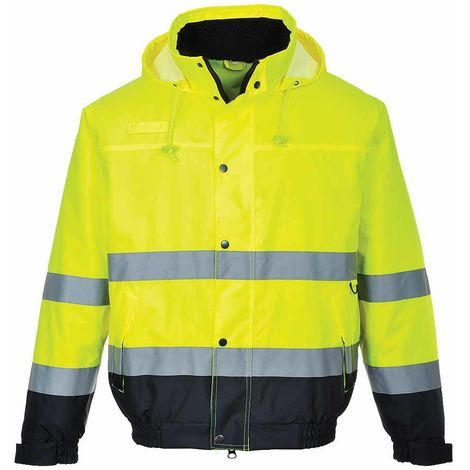 Portwest - Hi-Vis Safety Workwear Two Tone Bomber Jacket, Yellow/Navy, XS,