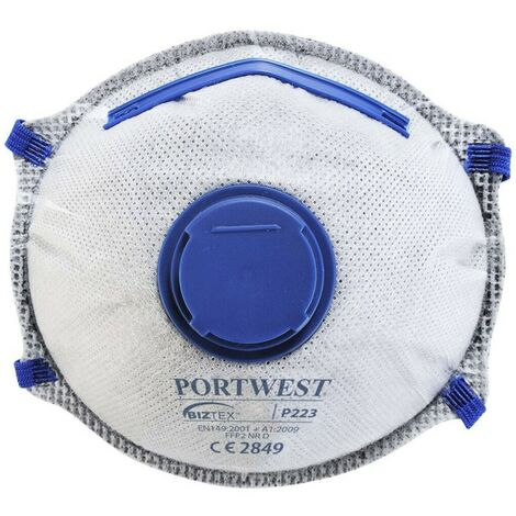 Portwest - Masque FFP2 à valve Charbon Dolomite (Pack de 10) - P223 Taille:Unique