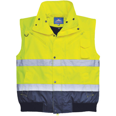 Portwest Mens 3 In 1 Hi-Vis Bomber Jacket (C465) / Workwear