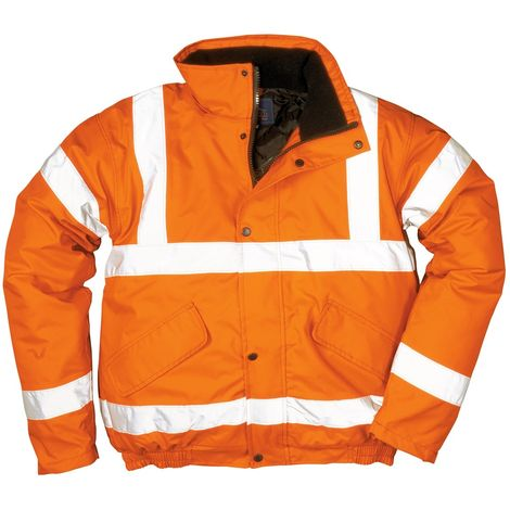 Portwest Mens Hi-Vis Safety Workwear Bomber Jacket GO/RT