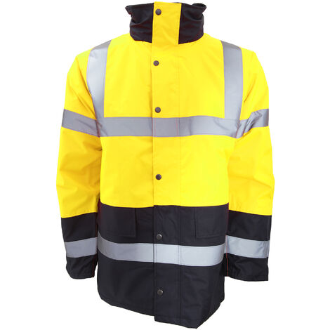 Portwest Mens Hi-Vis Waterproof Contrast Panel Traffic Jacket