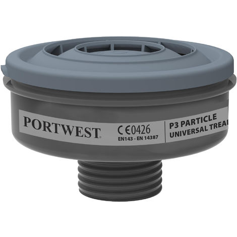 Portwest - Pack of 6 Class P3R Particle Filters Universal Thread Black Regular