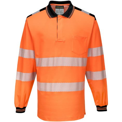Portwest - PW3 Hi Vis Workwear Long Sleeve Polo Shirt