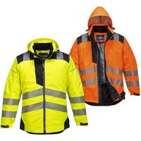 Portwest - PW3 Vision Hi-Vis Safety Workwear Rain Jacket Yellow Large