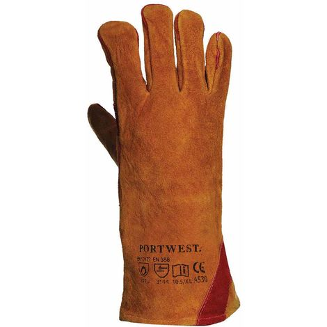 Portwest - Reinforced Welding Gauntlet Glove (1 Pair Pack), Tan, XXX-Large,