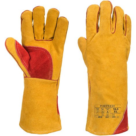 Portwest - Reinforced Winter Welding Gauntlet Glove (1 Pair Pack), Tan, X-Large,