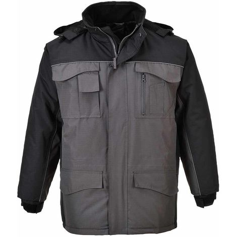 Portwest - RS Outdoor Workwear Durable Waterproof Parka Jacket With Hood, Black/Grey, X-Small,