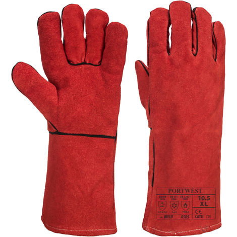 "Portwest - Winter 14"" Welders Leather Gauntlet Glove (1 Pair Pack), Red, X-Large,"