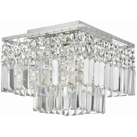 Poseidon crystal and polished chrome 4-light ceiling light