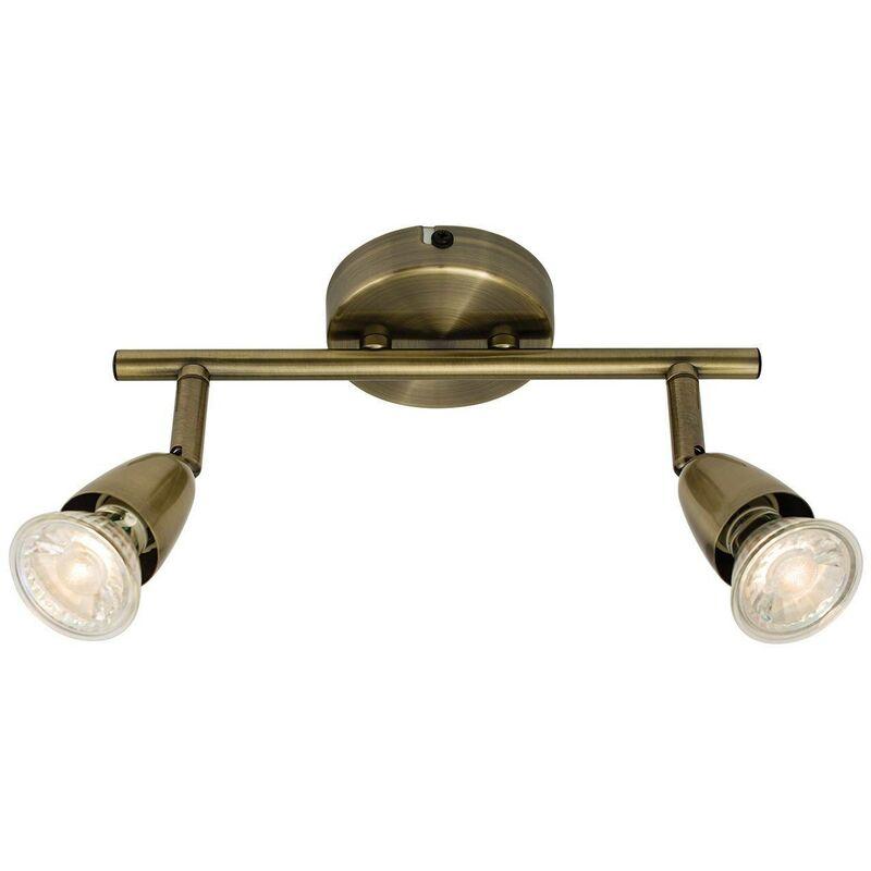 Image of Endon - Adjustable 2 Light Spotlight Antique Brass, GU10 - ENDON DIRECTORY LIGHTING