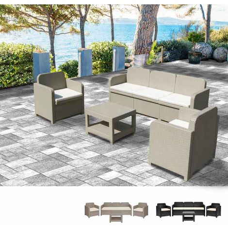 POSITANO Garden Lounge Set 2 Chairs 1 Sofa 1 Table in poly rattan 5 Total seats