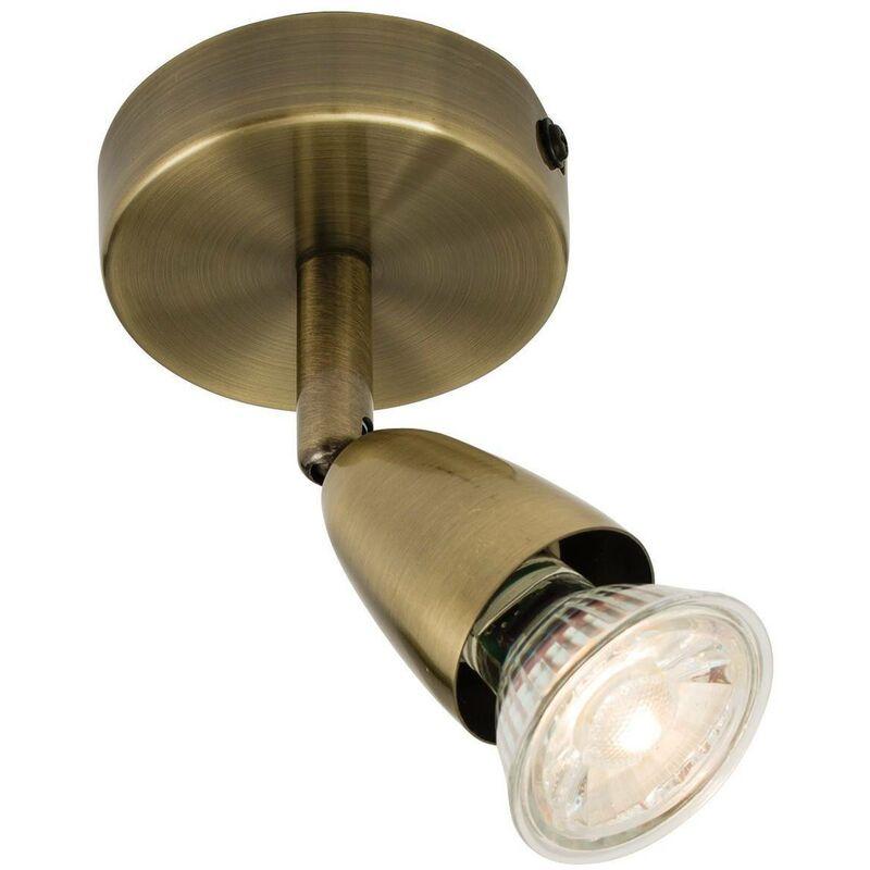 Image of Endon Amalfi - Adjustable 1 Light Spotlight Antique Brass, GU10 - ENDON DIRECTORY LIGHTING