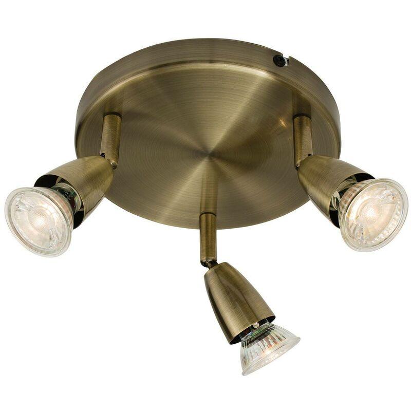 Image of Endon Amalfi - Adjustable 3 Light Spotlight Antique Brass, GU10 - ENDON DIRECTORY LIGHTING