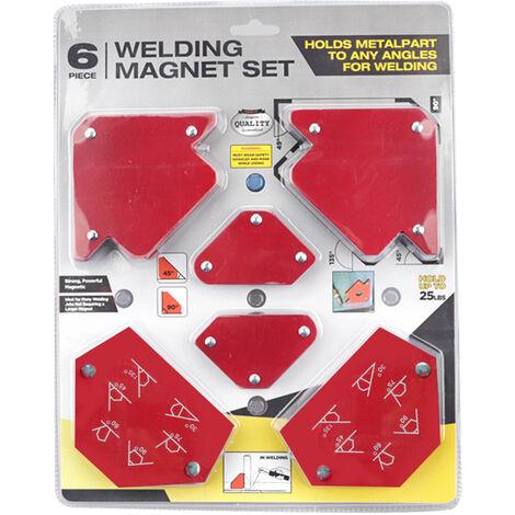 Positionneur de triangle de soudage 6 pieces sans interrupteur, specifications multiples, outil magnetique a angle fixe, accessoires de soudage electrique, motifs aleatoires