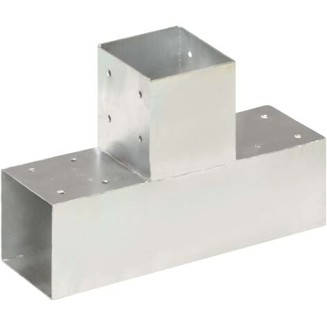 Post Connector T Shape Galvanised Metal 91x91 mm - Silver