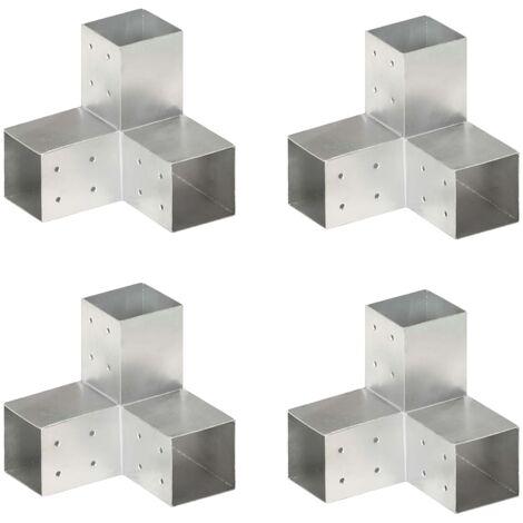 Post Connectors 4 pcs Y Shape Galvanised Metal 81x81 mm