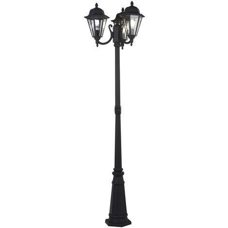 "main image of ""Post Light 'Edana' (modern) in Black made of Aluminium (3 light sources, E27) from Lindby   Pole Light, Lantern"""