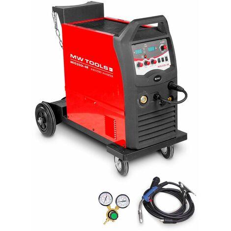 Poste à souder industriel mobile MIG MAG FLUX 350 A - manomètre inclus MW-Tools MIG350I-4R