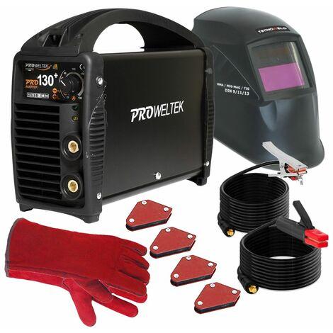 Poste à souder Inverter PRO 130 PACK PROWELTEK Cagoule LCD 9/13 + 4 Positionneurs magnétiques + Gants Anti chaleur