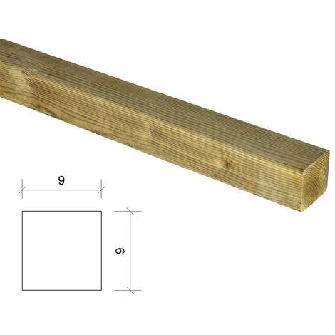 Poste de madera cuadrado tratado y 9x9x80cm
