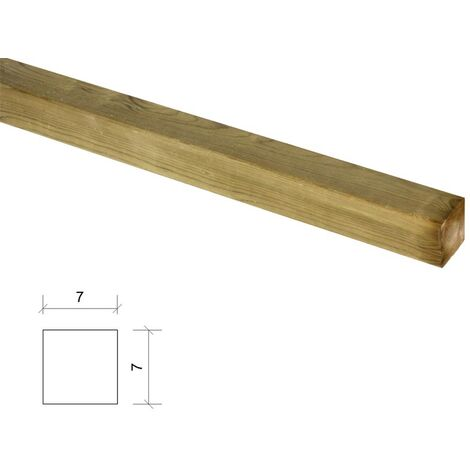 Poste de madera cuadrado tratado y cepillado 7x7x100cm