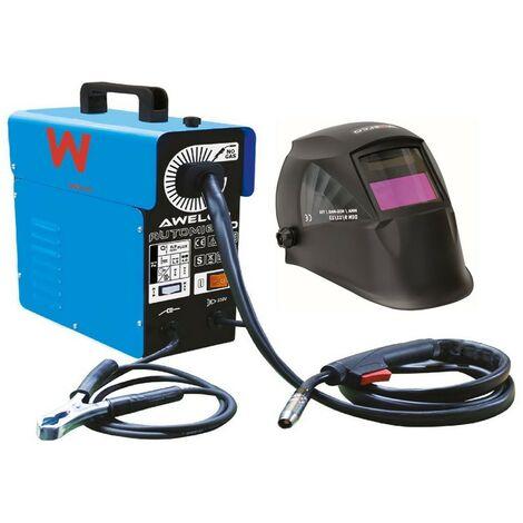 Poste de soudure MIG NO GAZ Automatique 130A AWELCO AUTOMIG 130 + Cagoule de soudure LCD 9/13 AWELCO HELMET