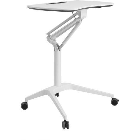 Poste de travail mobile bureau assis debout poste de travail à roulettes hauteur réglable blanc - Blanc