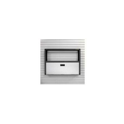 Poste de travail rabattable murale+étagère ouverte - Acier -Série Prête à Monter - GAFS42KDSG.