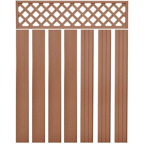 Poste de valla de repuesto 7 unidades WPC marrón 170 cm