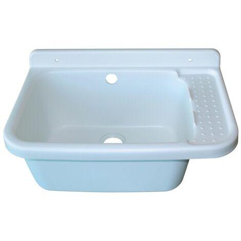 Poste d'eau lave-mains 59x38x26,5 blanc + système d'évacuation - INTERPLAST