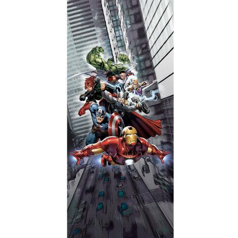 Poster de porte Intissé - Disney Marvel - les Avengers qui volent - 90 cm x 202 cm