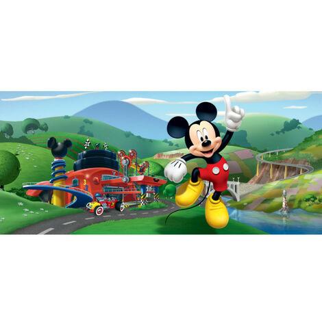 Poster horizontal Mickey Mouse devant son garage de Disney intisse 202CM X 90CM