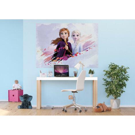 Poster Intissé - Disney La Reine des Neiges 2 - modèle Anna et Elsa sur fond bleu 160 cm x 110 cm