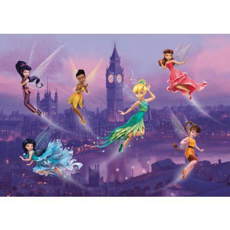 Poster Intissé XXL - Fée Clochette Disney et ses amies à Londres - 255 cm x 180 cm