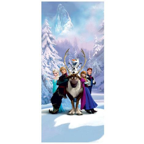 Poster Porte La Reine des Neiges Elsa Anna Olaf Sven Kristoff Hans de Disney intisse 90X202 CM