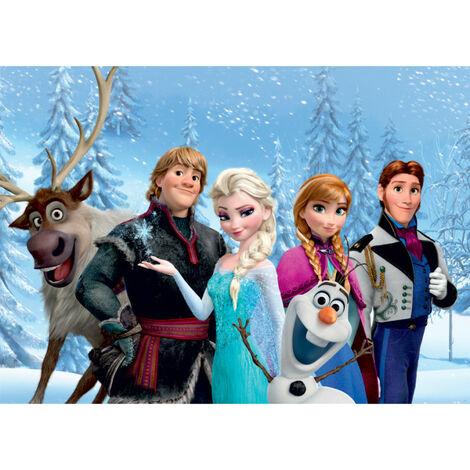 Poster XXL intisse La Reine des Neiges Portraits d'Elsa Anna Olaf Sven Kristoff Hans de Disney 160X115 CM