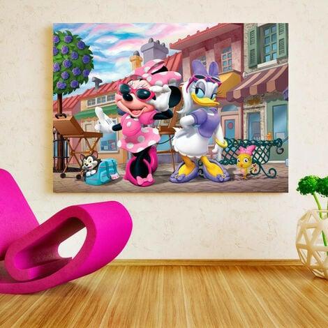 Poster XXL intisse Minnie et Daisy en ville Disney 160X115 CM