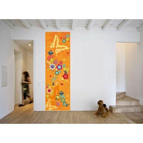 Posters: Fleurs Papier Peint Photo Bande Murale Autocollante - Fantaisie Florale Avec Hibous Et Papillons (250 x 79 cm)