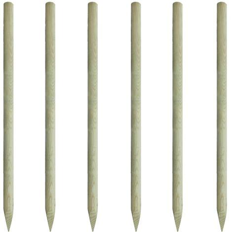 Postes de valla 6 unidades de madera 200 cm