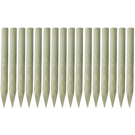 Postes de valla puntiagudos 16 uds madera impregnada 100 cm