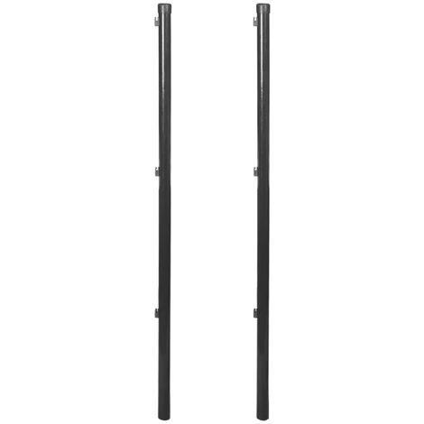 Postes para valla de tela metálica 2 unidades gris 150 cm