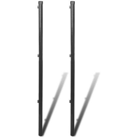 Postes para valla de tela metálica 2 unidades gris 195 cm