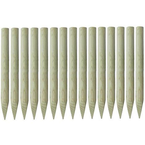 Postes puntiagudos de valla 15 uds pino impregnado 4x100 cm