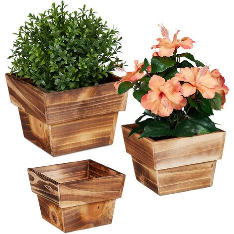 """main image of """"Pot à fleurs en jeu de 3, bois flambé, pour extérieur et intérieur, carré, décoration pour plantes, nature"""""""