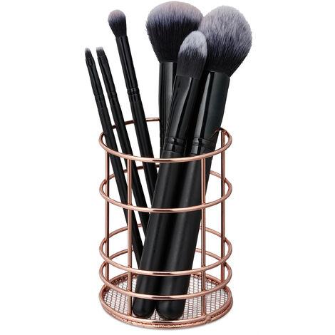Pot à pinceau de maquillage, fil métallique, rangement cosmétique, organiseur bureau, HxD 10 x 8 cm, cuivre