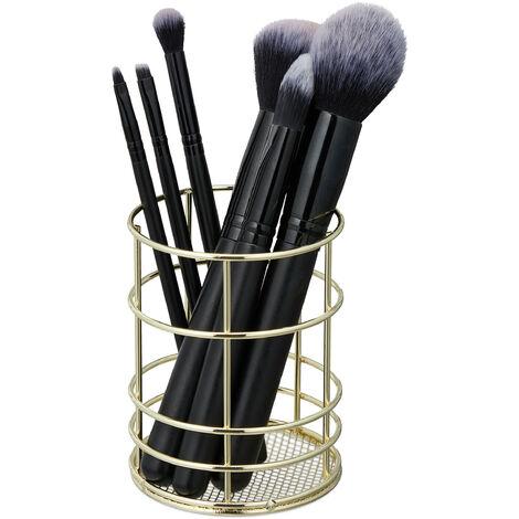 Pot à pinceau de maquillage, fil métallique, rangement cosmétique, organiseur bureau, HxD 10 x 8 cm, doré